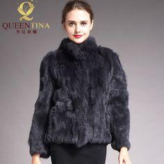 2018 abrigo de piel auténtica de alta calidad a la moda abrigo de piel de  conejo be5462da0467