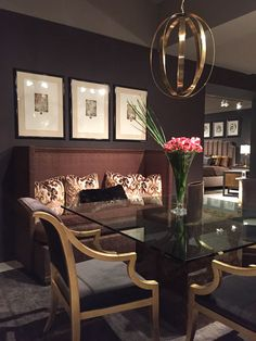Trends for 2016 seen at High Point Market spring 2015. Dramatic color! (Bernhardt Furniture showroom)