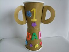 Father's Day Trophy Cup from take-out cups. Wash and reuse cups the next time you go for a tea! :D