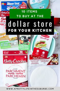 10 Things to Buy for Your Kitchen at the Dollar Store. Good quality, inexpensive items that make great kitchen staples. From parchment paper to tin foil, storage containers, bags and more! Plastic Food Containers, Plastic Container Storage, Storage Containers, Kitchen Garbage Bags, Cake Liner, Foil Packaging, Compost Bags, Things To Buy, Stuff To Buy