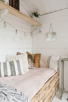 Inspired Home Tour {Upstairs} Pink And Monochrome Summer House - Theresa's Four Bed Edwardian Terrace. Garden With Boho Inspired Summer House. Image By Adam Crohill.Upstairs Downstairs Upstairs Downstairs may refer to: She Shed Interior Ideas, She Shed Decorating Ideas, Small Summer House, Summer House Garden, Summer House Paint, Summer House Decor, Summer Houses, Shed Hangout Ideas, Shed Room Ideas