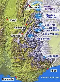 Ski resorts and skiing in France. The best times and places for downhill and cross-country skiing in the French Alps Ski Resorts France, French Ski Resorts, Nice France Map, Val D'isère, Alpe D Huez, Chamonix, Grenoble, Alpine Skiing, French Alps