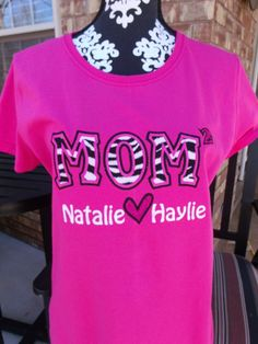 CUSTOM MOM w/ Exponent Up to 4 Child's Names by EmbroideryByStacie, $28.00