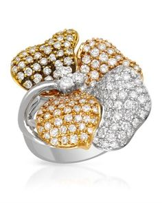 Flower cocktail ring with genuine diamonds.