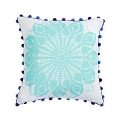 Aqua and Green Mandala cushion. Screen printed onto linen by hand with a green Mandala print on reverse. Plus GORGEOUS pom pom trim makes this our 2014 favourite!