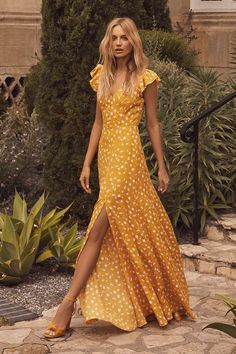 ef368d10767 Fresh Picked Mustard Yellow Floral Print Backless Maxi Dress
