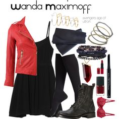 Wanda - Scarlet Witch by allgoodchains on Polyvore I would put a tank underneath:)