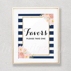 Favor Table Sign, Bridal Shower Decoration, Navy and White Stripes, Watercolor Floral - SKUHDG13 by hellodreamstudio on Etsy