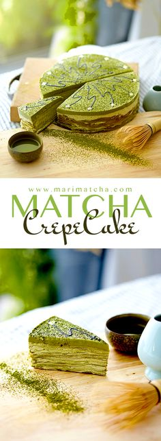 Delicious Matcha Crepe cake -- perfect for dessert or for a weekend breakfast! Read more at ---> www.marimatcha.com #matcha #matchagreentea #greentea #tea #dessert #cake #crepes #crepecake #antioxidants #recipe #recipes #sweet #marimatchatea