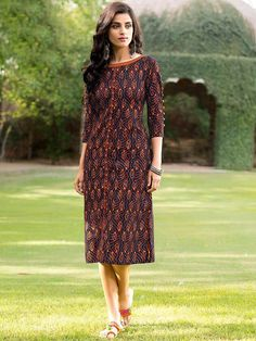 Charming navy blue and orange cotton casual wear printed kurti. Having fabric cotton. The beautiful print work on the attire adds a sign of beauty statement to your look. #mydesiwear #Designerkurtis #Cotton #LongCasualKurtis #TrendyCasualkurtis #DiscountOffer #OnlineShopping #PrintedCasualKurti #WeddingCollection #valentinegiftsforgirls #Uniquevalentinegifts #valentinegiftsforheronline #valentinesday
