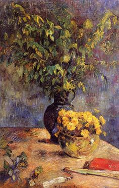 eugène henri paul gauguin(1848-1903), two vases of flowers and a fan, 1885. oil on canvas, 100 x 65 cm. private collection  http://www.the-athenaeum.org/art/detail.php?ID=1999