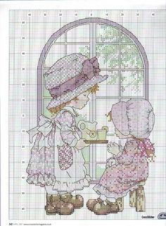 Schema punto croce Sarah Kay e l'ora del the Cross Stitch Numbers, Just Cross Stitch, Cross Stitch Charts, Cross Stitch Designs, Cross Stitch Patterns, Sarah Kay, Holly Hobbie, Cross Stitching, Cross Stitch Embroidery
