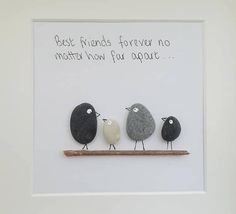 Pebble Art Picture Best Friends Gift Handmade And Personalised Beautiful pebble art framed and handmade. Each one of my pebble art designs will make a fabulous and unusual gift for an. Pebble Pictures, Art Pictures, Stone Pictures, Stone Crafts, Rock Crafts, Wedding Wishes Messages, Personalized Thank You Gifts, Images D'art, Art Pierre