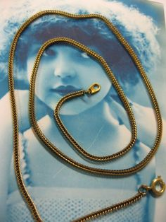 18 inch Vintage New Old Stock Box Snake Chain Complete Necklace w/clasp RAW x1. $3.75, via Etsy.