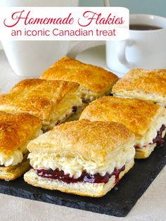 Homemade Flakies with raspberry compote vanilla cream A nostalgic tribute to the Vachon Flakie one of my very favourite snack cake treats as a kid canada canadianfood puffpastry puffpastryrecipes easydessert Rock Recipes, Sweet Recipes, Yummy Recipes, Dessert Simple, Köstliche Desserts, Dessert Recipes, Cake Recipes, Dinner Recipes, Yummy Treats