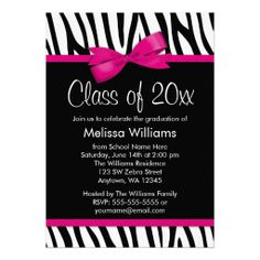 Pink graduation invitations invitation card graduation party zebra hot pink printed bow graduation party invitation filmwisefo