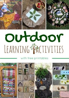 Montessori Nature: Outdoor Learning Activities w/ free printables Forest School Activities, Nature Activities, Outdoor Activities For Kids, Montessori Activities, Toddler Activities, Learning Activities, Kids Learning, Summer Activities, Reggio Art Activities