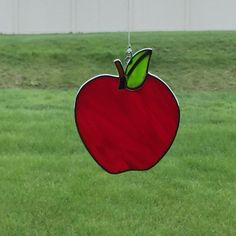 Stained glass apple suncatcher, fruit, red apple sun catcher, teacher appreciation gift by FoxStainedGlass on Etsy