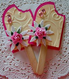 DIY IDEA - Sweet Popsicle Embellishments by sarasscrappin on Etsy, via Etsy. Candy Cards, Scrapbook Embellishments, Scrapbook Cards, Scrapbook Layouts, Birthday Cards, 90th Birthday, Birthday Gifts, Kids Cards, Cute Cards