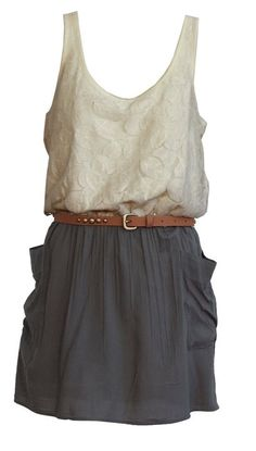 Lacy top, brown skinny belt, gray skirt with pockets, tank top, short...perfection