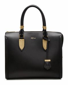 Heroine Leather Zip-Up Tote Bag, Black by Alexander McQueen at Neiman Marcus.
