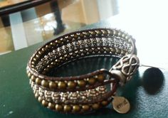 Leather Wrap Bead Bracelet Tibetan Silver and  Brass Color Glass Magnetic Closure Cuff Custom
