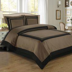 With Love Home Decor - Hotel Taupe/Black Egyptian Cotton Duvet Cover Set, $61.99 (http://www.withlovehomedecor.com/products/hotel-taupe-black-egyptian-cotton-duvet-cover-set.html)
