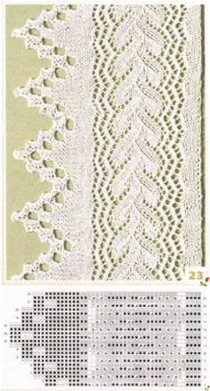 This Pin was discovered by Ele Lace Knitting Stitches, Lace Knitting Patterns, Knitting Charts, Lace Patterns, Stitch Patterns, Gilet Crochet, Crochet Lace, Tricot D'art, Knit Edge