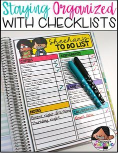 Stay organized with a cute teacher checklist! Pick up a freebie in this post!