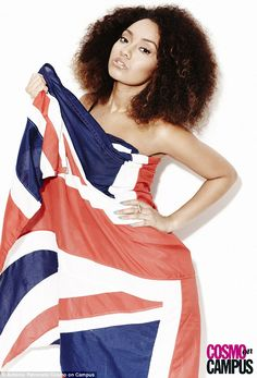 Waving their flags: Leigh-Anne Pinnock led the way as the Little Mix girls rocked a cool Britannia look to perfection while posing in a fun new shoot for the Spring edition of Cosmo on Campus magazine