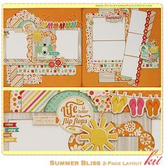 Summer Bliss 2-Page Layout Kit, complete with instructions, by PaisleysandPolkaDots.com for a limited time featured at www.scrapclubs.com