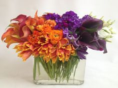 Orange and purple IS autumn ;) Blooms from Isari Floral Studio http://www.bloomnation.com/solana-beach-isari-flower-studio-event-design/modern-color-block.html