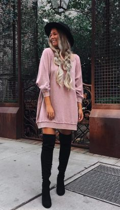 oversized sweatshirts + over the knee boots #freepeople #fpme