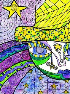 'Start Catcher' by Kimberly McGuiness, watercolor, ink, salt on mixed media paper Virtual Art, Watercolor Paper, Watercolor Galaxy, Whimsical Art, Collage Sheet, Creative Inspiration, Colored Pencils, Catcher, Line Art