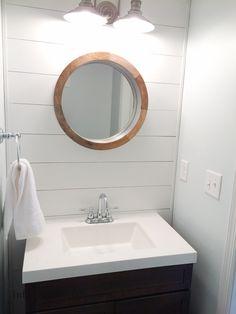 Tips and Tricks for DIY shiplap bathroom, lots of info on paint, glue, tools needed, etc. Bathroom Colors, Small Bathroom, Bathroom Ideas, Neutral Bathroom, Bath Ideas, Bathroom Designs, Diy Ideas, Shiplap Bathroom, Washroom