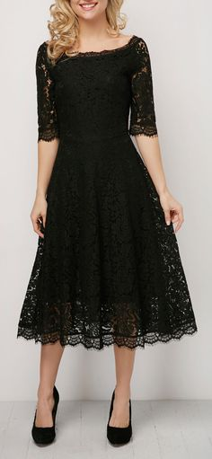 Half Sleeve Lace A Line Wedding Guest Dress-Black,M Half Sleeve High Waist Eyelash Lace Dress Trendy Dresses, Sexy Dresses, Dress Outfits, Evening Dresses, Casual Dresses, Fashion Dresses, Bride Dresses, Navy Lace Dresses, Lace Dress Black