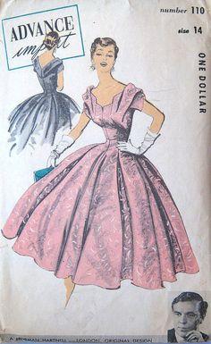 Vintage 1950s Pattern Advance Import 110 Norman Hartnell London Original Design Dress Draped Flared 32 Bust. $60.00, via Etsy.
