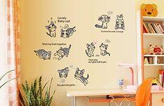 lovely chats papier peint sticker home house sticker mural amovible cuisine salon salle manger chambre art picture m aaaa en attente de classement