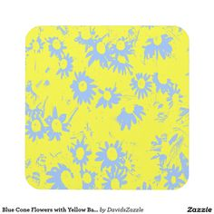 Blue Cone Flowers with Yellow Background Coaster  Available on more products, type in the name of this design in the search bar on my products page to view them all!  #cone #daisy #shasta #calendula #floral #flower #yellow #blue #pattern #print #all #over #abstract #plant #nature #earth #life #style #lifestyle #chic #modern #contemporary #home #decor #kitchen #dining