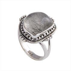 BLACK RUTILE 925 STERLING SILVER 5.51g ANTIQUE RING JEWELLERY  #DSJ #RING