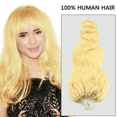 Great Quality #613 Bleach Blonde Body Wave Micro Loop Hair Extensions 100 Strands/set  #microring #microloop #blondehair #hairextension