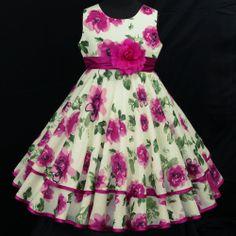 Cream/Beige c033 Birthday X'mas Party Fuchsia Pink Flower Girls Dress 4-5y sz-70