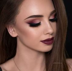 Maroon Shaded Eyes With Pure Lip Color