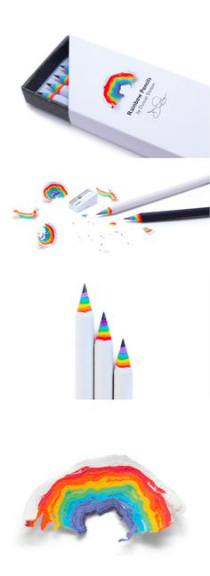Rainbow Pencils let you create beautiful paper rainbows each time you sharpen them. Rainbow Pencils let you create beautiful paper rainbows each time you sharpen them. Objet Wtf, Cool School Supplies, Office Supplies, School Suplies, Cute Stationary, Too Cool For School, Art Supplies, Diy And Crafts, Stationery
