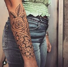 Tattoos are beautiful, mysterious, and have a special personality. People want to have a beautiful and powerful tattoo to inspire themselves. Arm Sleeve Tattoos For Women, Girl Arm Tattoos, Forearm Sleeve Tattoos, Tribal Sleeve Tattoos, Cute Tattoos, Body Art Tattoos, Women Tribal Tattoos, Mandala Tattoo Sleeve Women, Forearm Mandala Tattoo