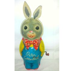Vintage Tin Litho Peter Cottontail Toy, Tin Litho Wind Up Toy, Mattel, Collectible Tin Litho,Peter Cottontail Music Box,Vintage Toys,1950's by JunkYardBlonde on Etsy