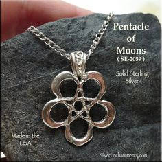 Sterling Silver Pentacle of Moons Pendant, Wiccan Jewelry - Silver Enchantments Pentagram Necklace, Wiccan Jewelry, Pentacle, Silver Jewelry, Moon, Fancy, Sterling Silver, Pendant, Witch