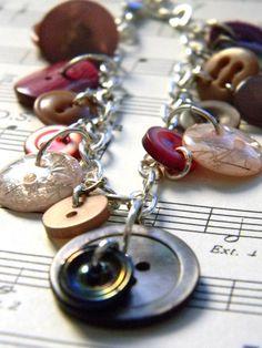Love Inspired Vintage Button Charm Bracelet