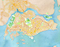 Watercolor Singapore, by  Stamen Design - 20x200 (from $24)