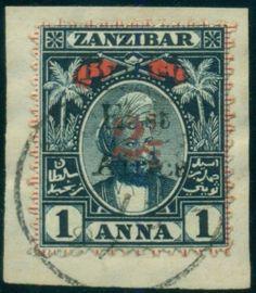 BRITISH-EAST-AFRICA- #97-2-1-2a-on-1a-Zanzibar-type-c-overprint-used-on-piece, $49 buy it now